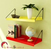 Home Sparkle Steel Wall Shelf(Number of Shelves - 2, Yellow, Red)