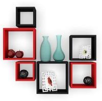 Artesia Wooden Wall Shelf(Number of Shelves - 6, Red, Black)