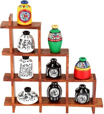 NG Art Ventura Ladder Stand with 9 pots Wooden Wall Shelf