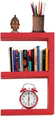 Furniselan Red in E Shape MDF Wall Shelf