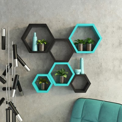 ENCORE DECOR Hexagon Shape MDF Wall Shelf(Number of Shelves - 6, Blue, Black)