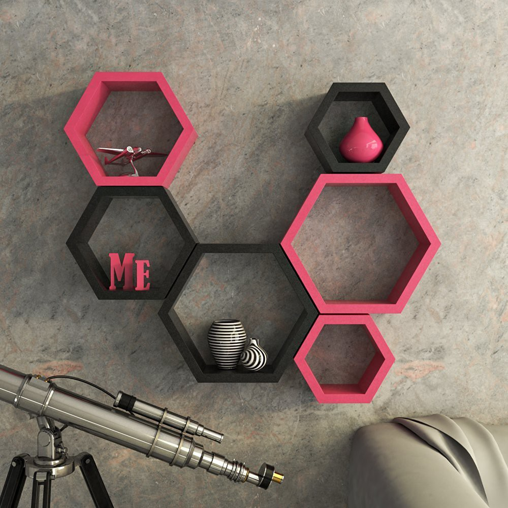 View Encore Decor Hexagon Shape MDF Wall Shelf(Number of Shelves - 6, Pink, Black) Furniture (Encore Decor)