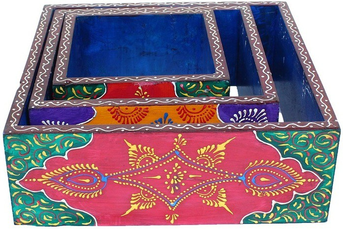 View AnD Artvilla Rajasthani Handicraft Traditional Wall Decorative Square Box Wooden Wall Shelf(Number of Shelves - 3, Multicolor) Furniture (AnD Artvilla)