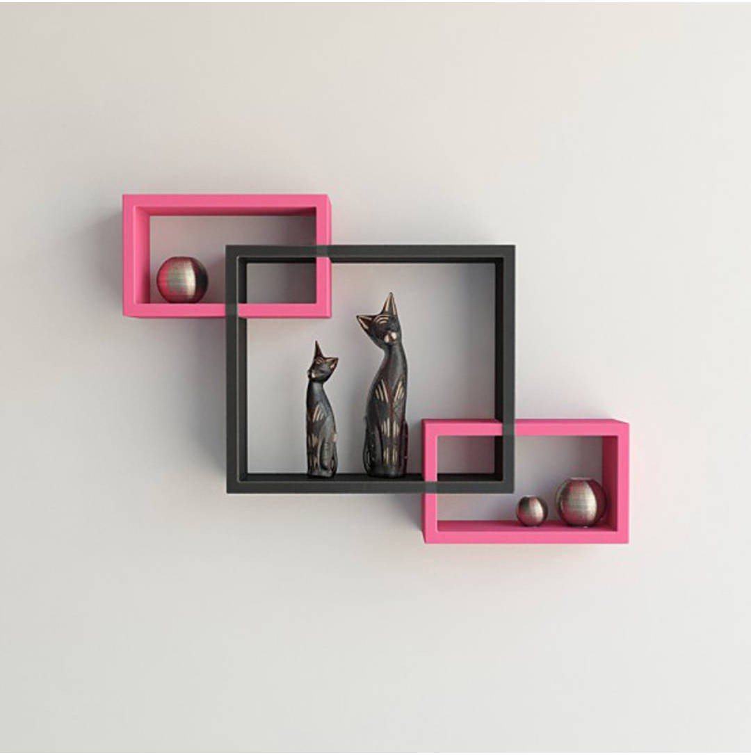 View Wallz Art Rectangular MDF Wall Shelf(Number of Shelves - 3, Pink) Furniture (Wallz Art)