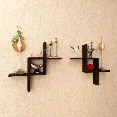 eCraftIndia Set of 2 Zigzag Wooden Wall Shelf