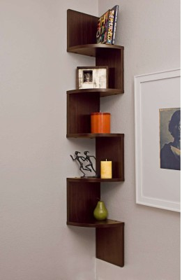 ENCORE DECOR Corner Zigzag - Brown MDF Wall Shelf(Number of Shelves - 5, Brown)