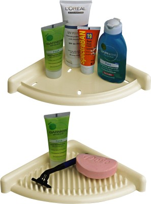Cipla Plast 3D Bath Set - Ivory Plastic Wall Shelf