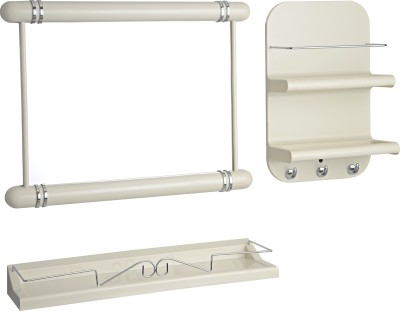 JVS 3 Pc Bathroom Orgainizer (Ivory) Plastic Wall Shelf