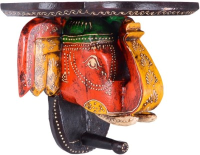 JaipurCrafts Decorative Antique Elephante Wooden Wall Shelf