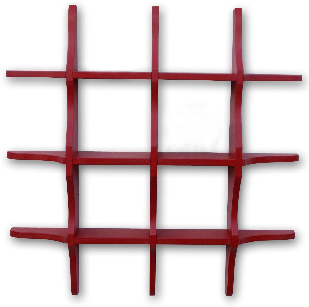 View BM WOOD FURNITURE Glob Shep Wooden Wall Shelf(Number of Shelves - 12, Red) Furniture (BM WOOD FURNITURE)