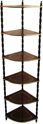Loxia Detectable 6 Shelf Corner Rack Wooden Wall Shelf
