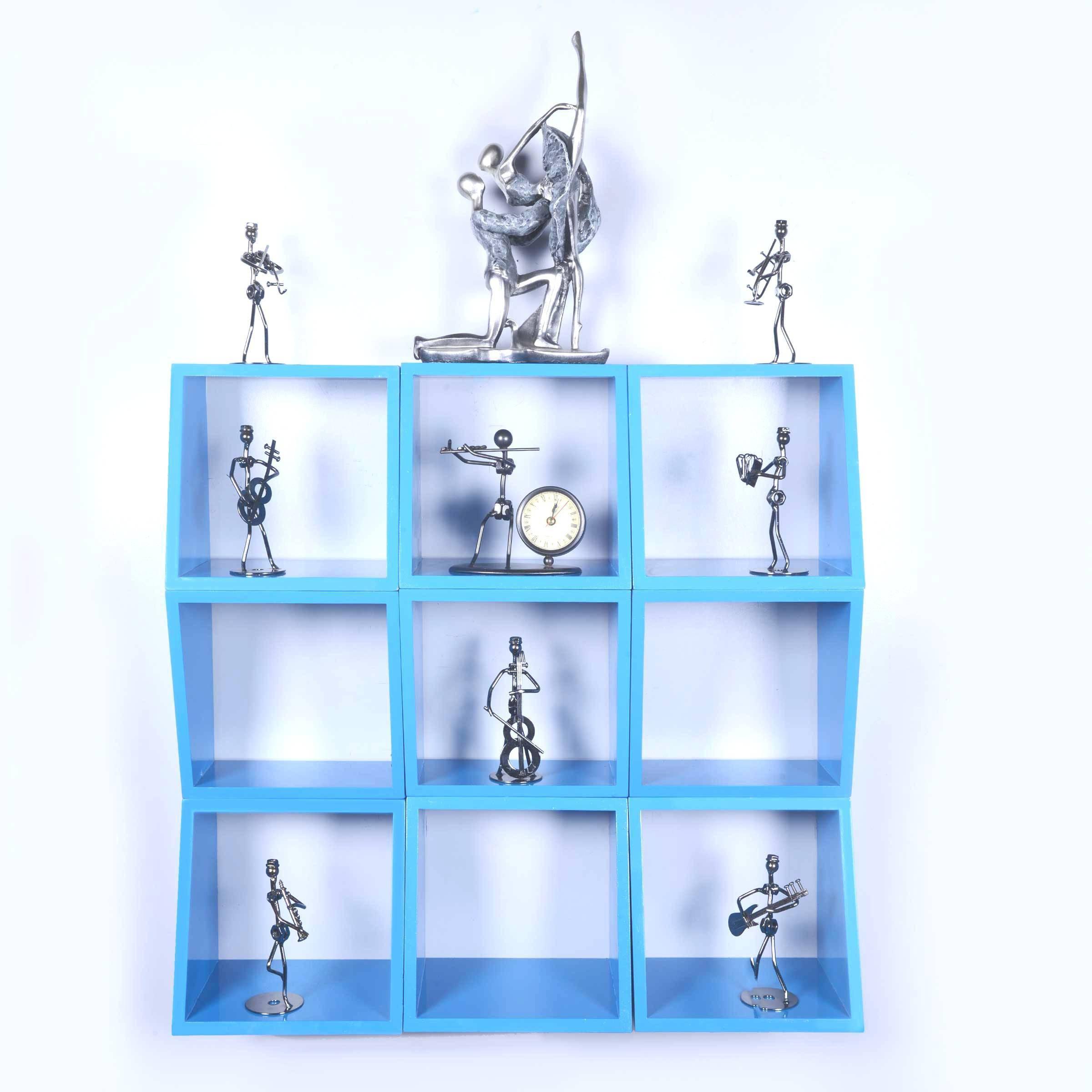 View Dcjc Dcjc Multipurpose Square Shelf Blue - Set Of 9 MDF Wall Shelf(Number of Shelves - 9, Blue) Furniture (Dcjc)