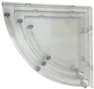Aqua Fit Bathroom Corner Acrylic Wall Shelf(Number of Shelves - 3, White)