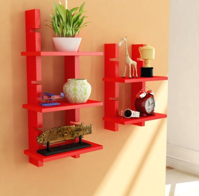 Decorhand Wooden Wall Shelf(Number of Shelves - 5, Red)