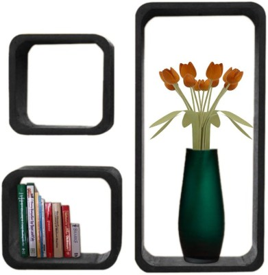 Decorhand Wooden Wall Shelf(Number of Shelves - 3, Black) at flipkart