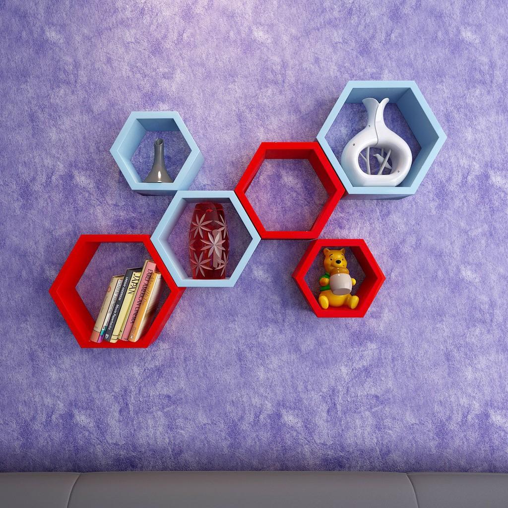 View DecorNation Hexagon Shape MDF Wall Shelf(Number of Shelves - 6, Blue, Red) Price Online(DecorNation)