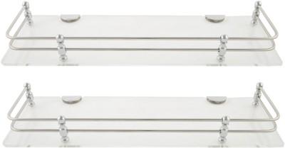 Dolphy Set Of 2 Shelf-18x5 Inch Microfibre, Stainless Steel Wall Shelf