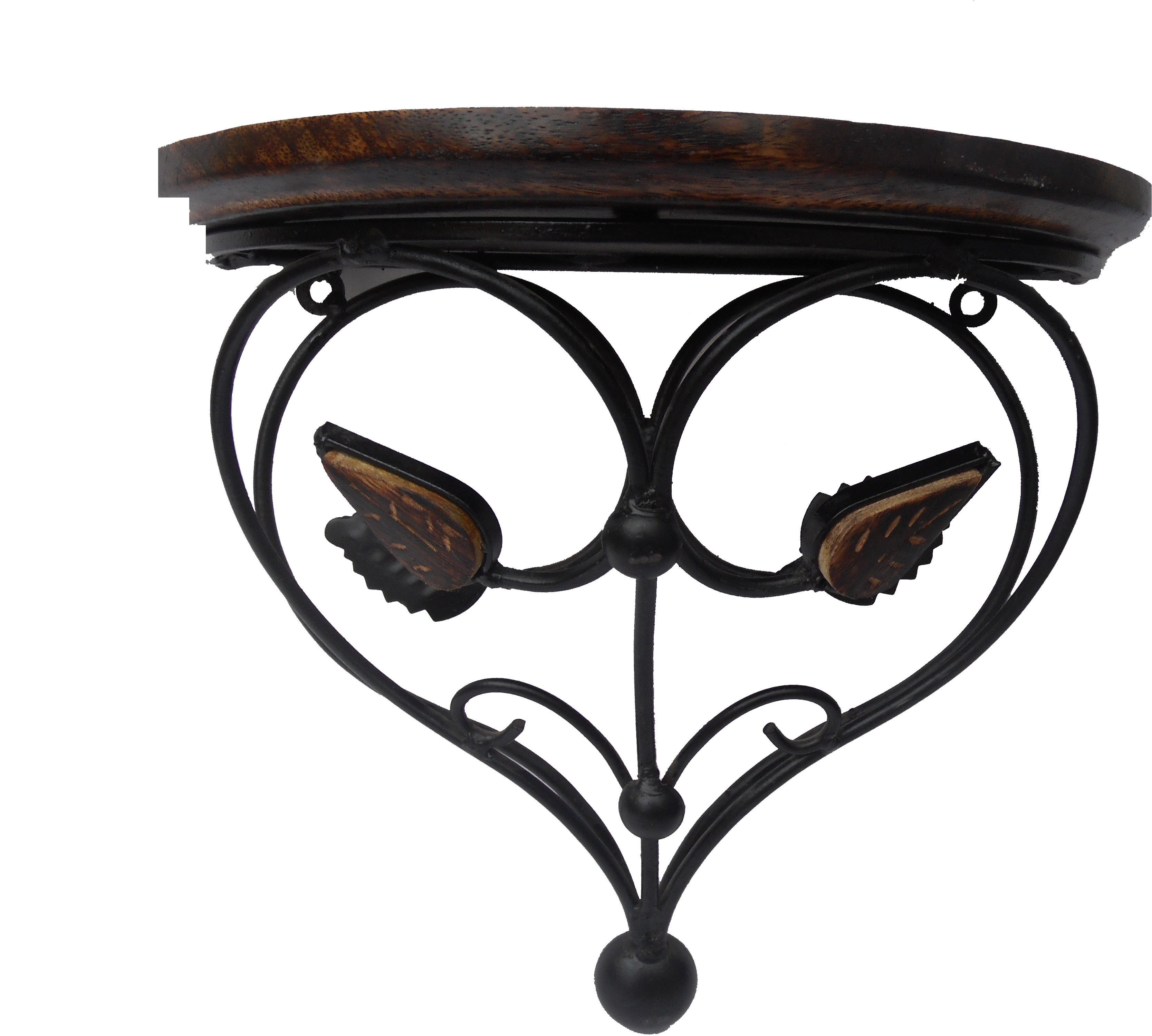 View HANDICRAFT Wooden, Iron Wall Shelf(Number of Shelves - 1, Black, Brown) Furniture (Handicraft)