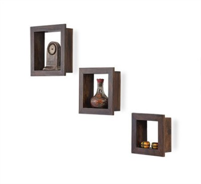 Smart Choice Furniture Wooden Square Design Wall Stand Set of 3 Wooden Wall Shelf