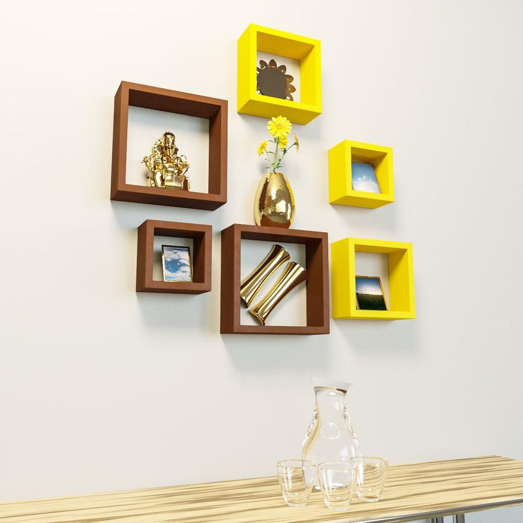 View DecorNation Nesting Square Shape MDF Wall Shelf(Number of Shelves - 6, Yellow, Brown) Furniture (DecorNation)