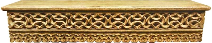 View Zuniq Mugal Jali Wooden Wall Shelf(Number of Shelves - 1, Brown) Furniture (Zuniq)