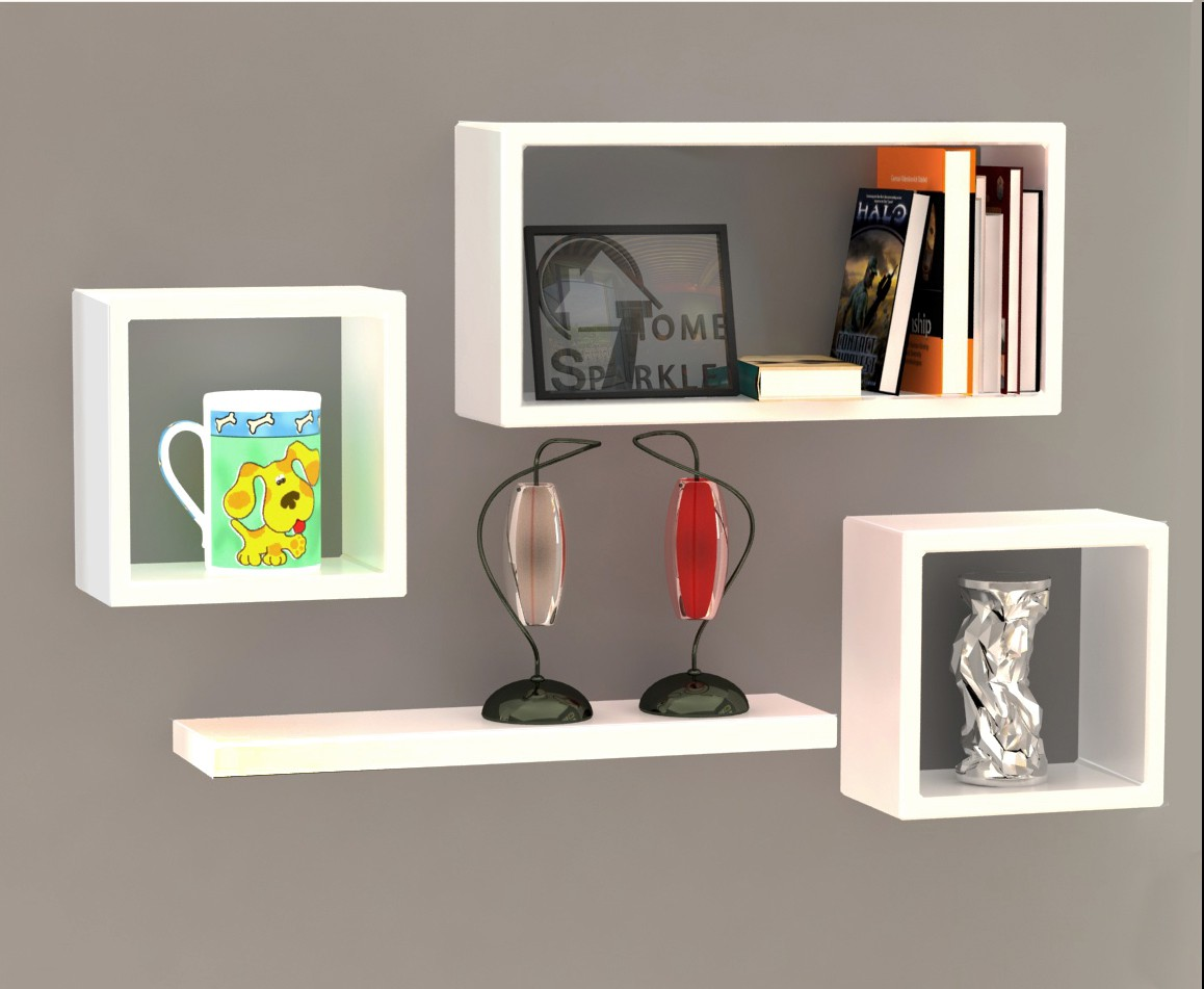 View Home Sparkle Set of Cube Square Plain Wooden Wall Shelf(Number of Shelves - 4, White) Furniture (Home Sparkle)