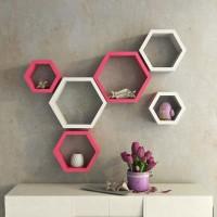 DecorNation Hexagon Shape MDF Wall Shelf(Number of Shelves - 6, Pink, White)