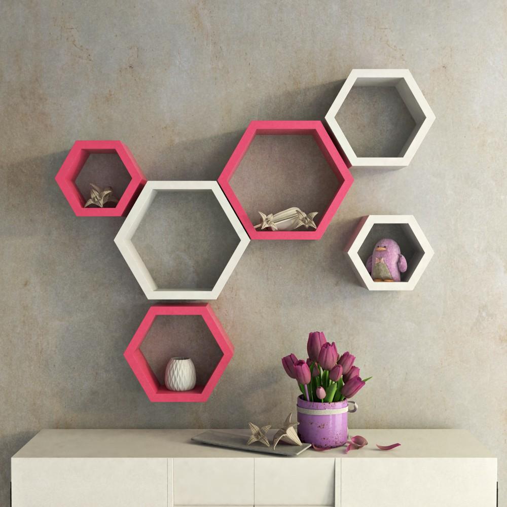 View DecorNation Hexagon Shape MDF Wall Shelf(Number of Shelves - 6, Pink, White) Price Online(DecorNation)