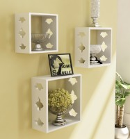 Home Sparkle 3 Cube Shelves Wooden Wall Shelf(Number of Shelves - 3, White)