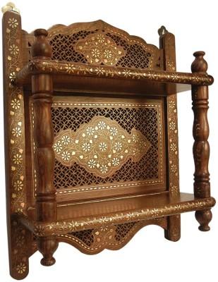 Zuniq Wooden, Brass Wall Shelf