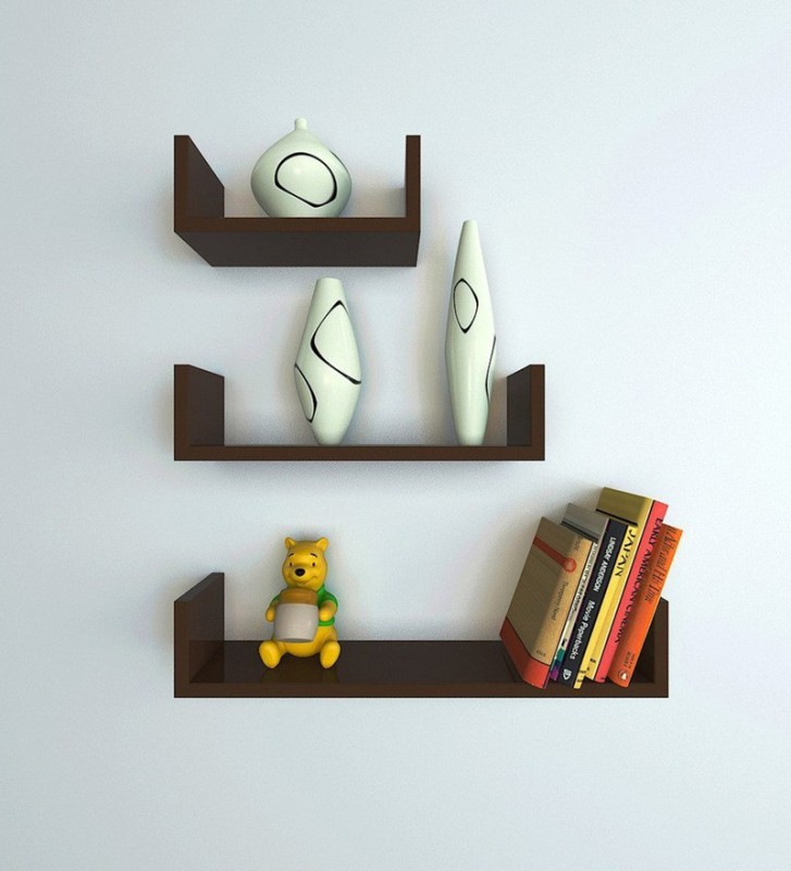 Decorhand Wooden Wall Shelf(Number of Shelves - 3, Brown)