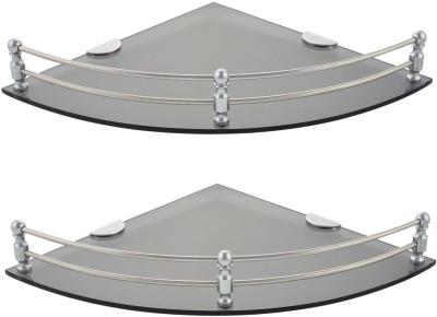 Dolphy Set Of 2 Smoke Corner-9x9 Inch Microfibre, Stainless Steel Wall Shelf