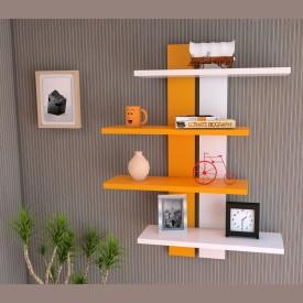 Homey Essense MDF Wall Shelf(Number of Shelves - 4, Orange, White)