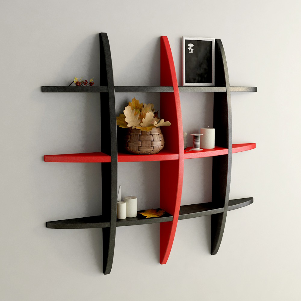 View DecorNation Globe Shape MDF Wall Shelf(Number of Shelves - 12, Black, Red) Furniture (DecorNation)