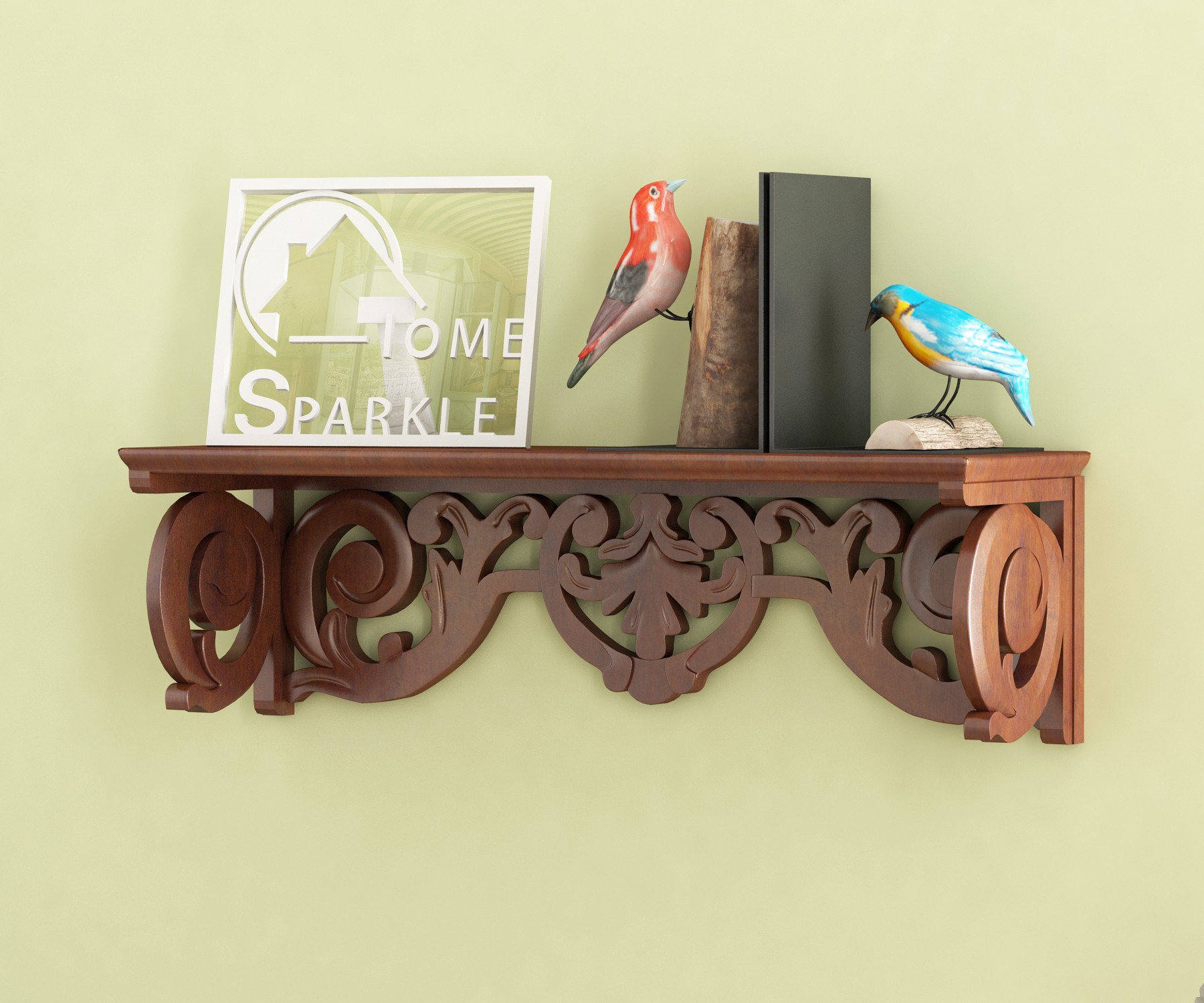 View Home Sparkle Carved MDF Wall Shelf(Number of Shelves - 1, Brown) Furniture (Home Sparkle)