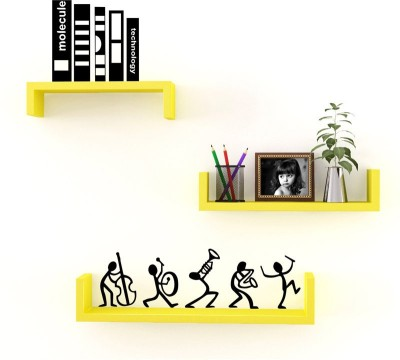 Decorhand Wooden Wall Shelf(Number of Shelves - 3, Yellow)