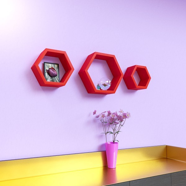 View Surya Ind Hexagon Shape MDF Wall Shelf(Number of Shelves - 3, Red) Furniture (Surya Ind)
