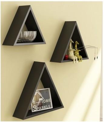 Onlineshoppee Home Decor Premium Solid Wood 3 Triangular Shelves - Black Wooden Wall Shelf