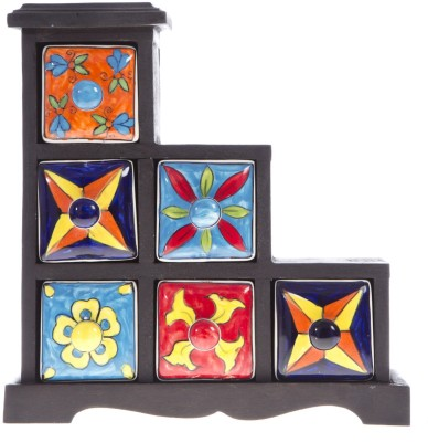 Smile2u Retailers Spice Box Wooden Wall Shelf(Number of Shelves - 6, Multicolor)