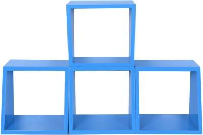 Dcjc Dcjc Multipurpose Square Shelf Blue - Set Of 3 MDF Wall Shelf