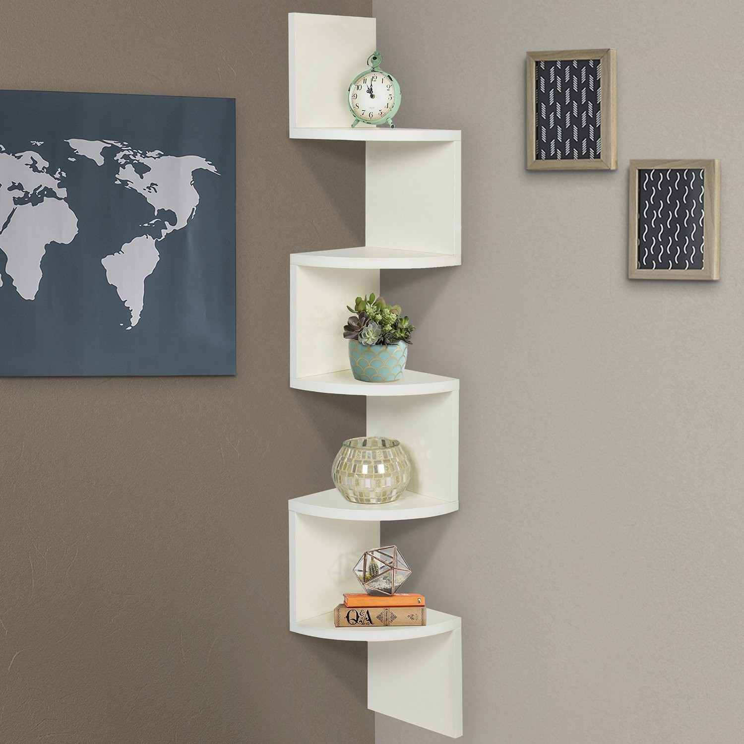 View Decoration Shop Wall Zig Zag corner MDF Wall Shelf(Number of Shelves - 1, White) Furniture (Decoration Shop)