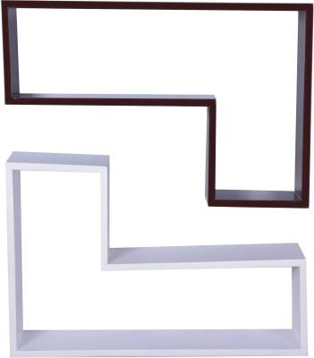 Dcjc Dcjc Tetris Shelf Black & White 2 - Set Of 2 MDF Wall Shelf