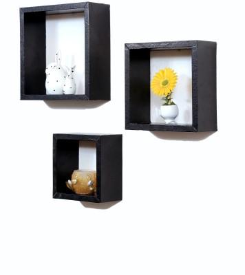 Importwala Black Leatherite (PU) wall shelves - Set of 3 MDF Wall Shelf