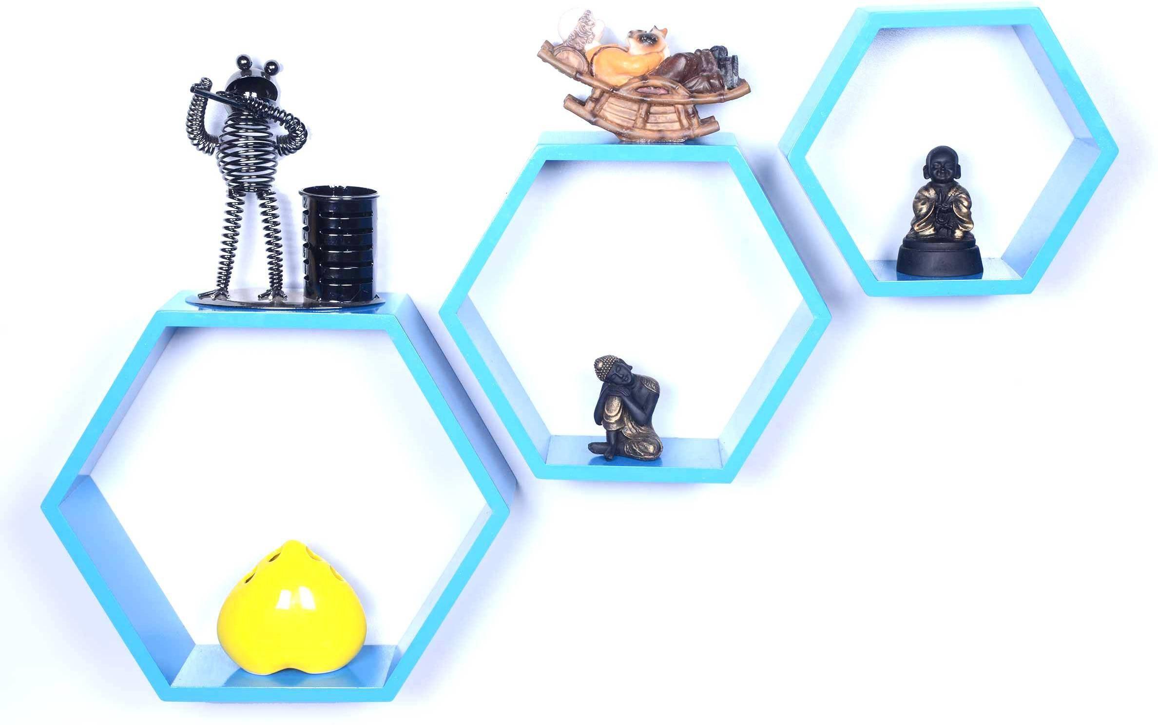 View Dcjc Dcjc Hexagon Shelf Blue - Set Of 3 MDF Wall Shelf(Number of Shelves - 3, Blue) Furniture (Dcjc)