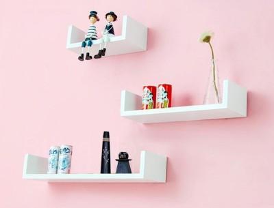 ENCORE DECOR U Shape MDF Wall Shelf(Number of Shelves - 3, White)