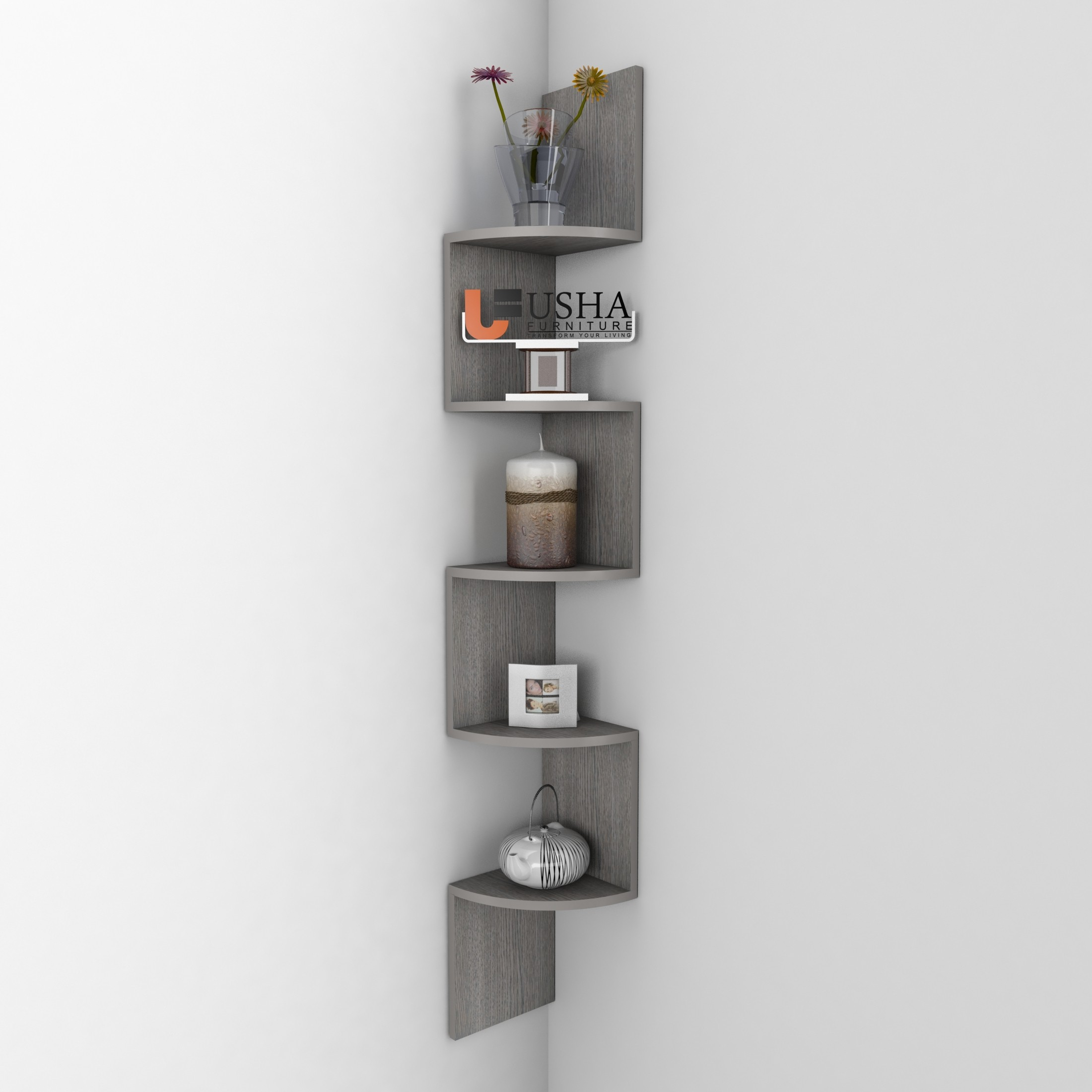 View Usha Furniture Corner Mount Wall Shelves Zigzag Shape Rack MDF Wall Shelf(Number of Shelves - 5, Grey) Furniture (Usha Furniture)