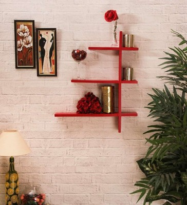 New Look Mw20 Red Wooden Wall Shelf
