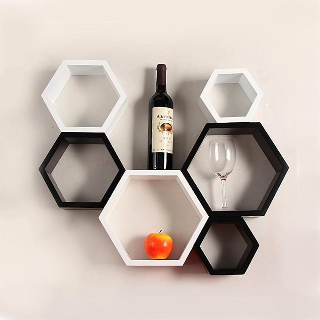 View Encore Decor Hexagon Shelf MDF Wall Shelf(Number of Shelves - 6, Black, White) Furniture (Encore Decor)