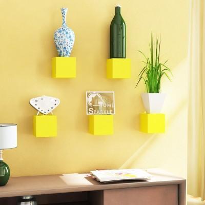 Home Sparkle Set Of 5 Cubes MDF Wall Shelf