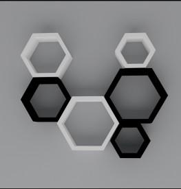 Wallz Art Hexagon Shape MDF Wall Shelf(Number of Shelves - 6, White)